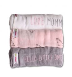 minene - muslins cloths pack of 3 (pink/grey/white)