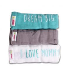 minene - muslins cloths pack of 3 (aquamarine/grey/white)