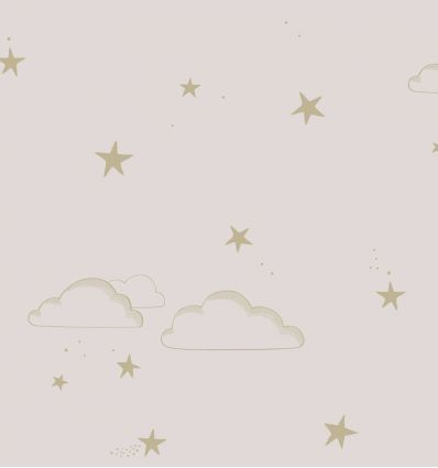 hibou home - carta da parati starry sky (pale rose/gold)
