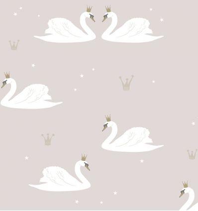 """hibou home - carta da parati cigni """"swans"""" (pale rose)"""