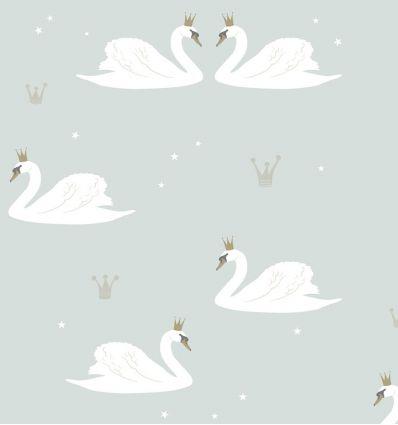 "hibou home - carta da parati con cigni ""swans"" (mint)"