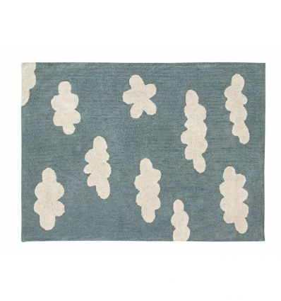 lorena canals - tappeto lavabile nuvole (vintage blu)
