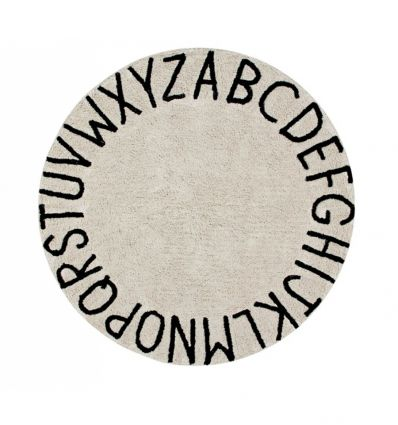 lorena canals - cotton round rug alphabet (natural)