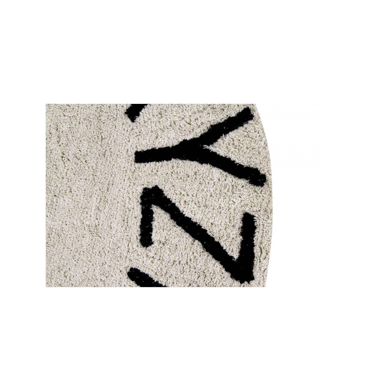 Lorena Canals Round Abc Rug: Lorena Canals Kid's Round Rug With ABC Alphabet (natural