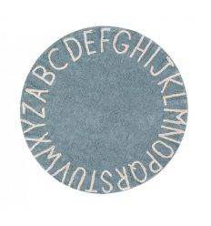 lorena canals - cotton round rug alphabet (vintage blue)