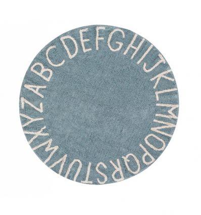 lorena canals - cotton round rug alphabet (vintage blue)