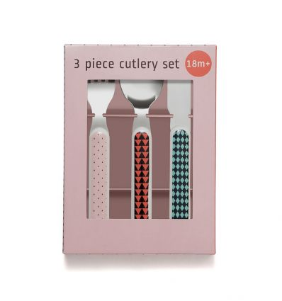 petit monkey - cutlery set (rabbit pink)