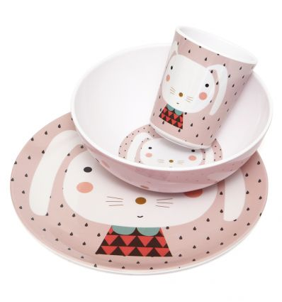 petit monkey - dinner set (rabbit pink)