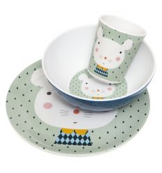 petit monkey - dinner set (mouse green)
