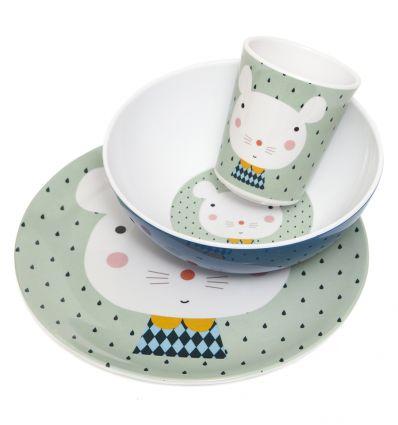 petit monkey - dinner set (mouse green)