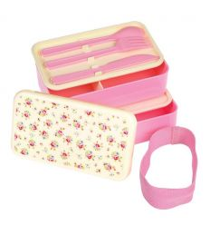 large lunch box with cutlery le petit rose