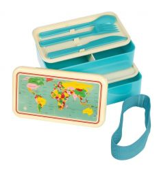 large lunch box with cutlery worldmap