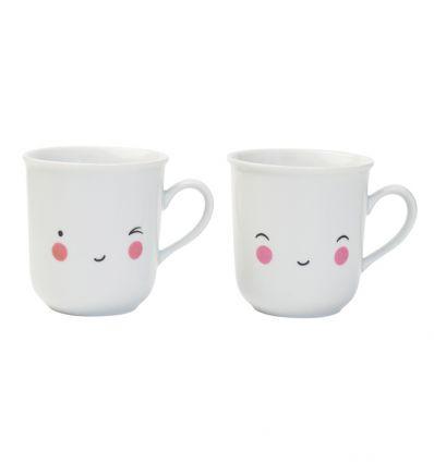 a little lovely company - set of 2 mugs happy