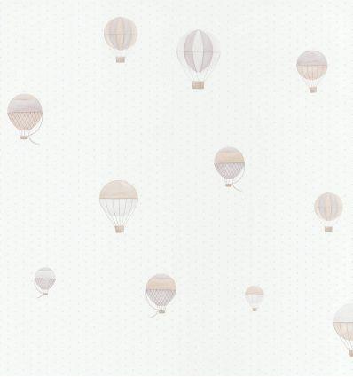 "casadeco - carta da parati pois e mongolfiere ""montgolfiere"" (grigio/beige)"
