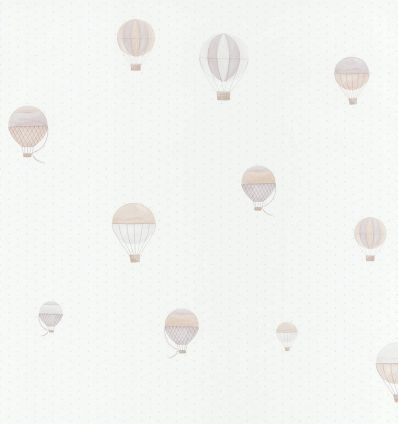 "casadeco - wallpaper polka dos and balloons ""montgolfiere"" (grey/beige)"
