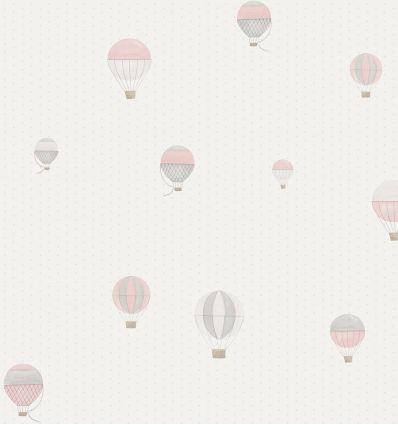 "casadeco - carta da parati pois e mongolfiere ""montgolfiere"" (rosa/grigio)"