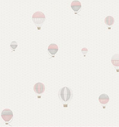 "casadeco - wallpaper polka dots and balloons ""montgolfiere"" (rose/grey)"
