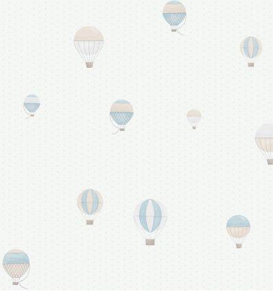"casadeco - carta da parati pois e mongolfiere ""montgolfiere"" (celeste/grigio)"