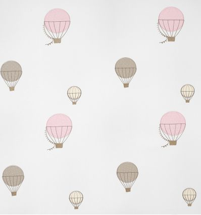 casadeco - embroidered fabric balloons montgolfieres brodees (rose)