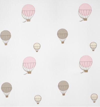 casadeco - tessuto d'arredo ricamato mongolfiere montgolfieres brodees (rosa)