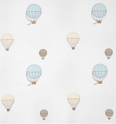 casadeco - tessuto d'arredo ricamato mongolfiere montgolfieres brodees (celeste)