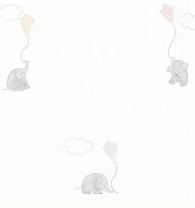 casadeco - carta da parati elefanti elephants (beige/grigio)