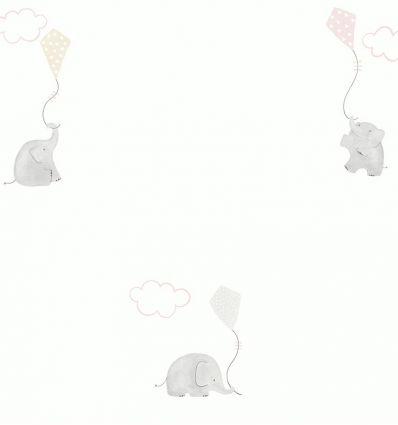 "casadeco - carta da parati elefanti ""elephants"" (rosa/grigio)"