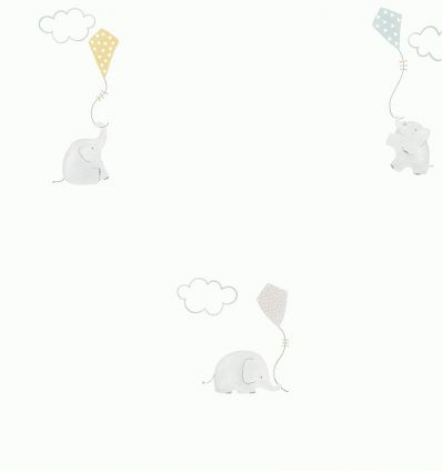 casadeco - carta da parati elefanti (celeste/grigio/senape)