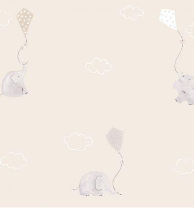 casadeco - tessuto d'arredo elefanti e aquiloni elephants (beige)