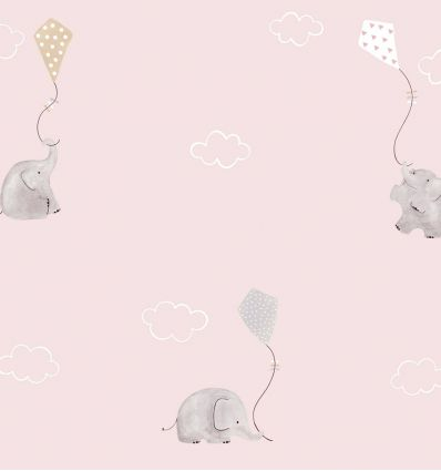 casadeco - fabric elephants (pink/beige)