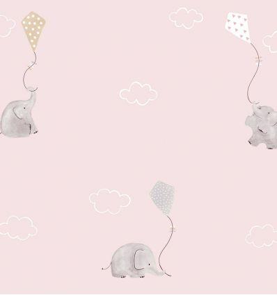 casadeco - tessuto d'arredo elefanti e aquiloni elephants (rosa/beige)