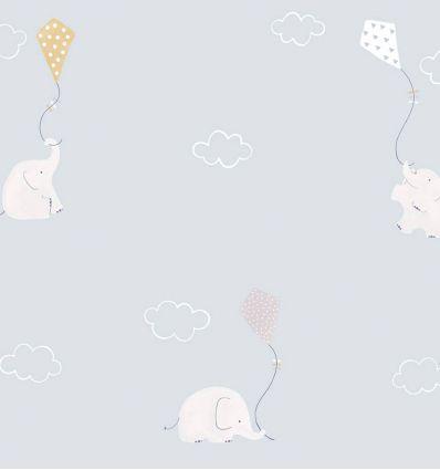 casadeco - tessuto d'arredo elefanti e aquiloni elephants (celeste/senape)