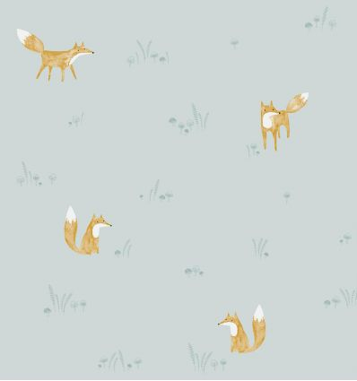 casadeco - carta da parati volpi renard (celeste)