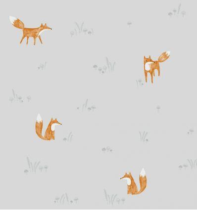 casadeco - carta da parati volpi renard (grigio)