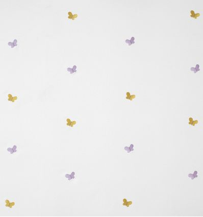 casadeco - embroidered fabric butterflies papillons brodes (mustard/mauve)