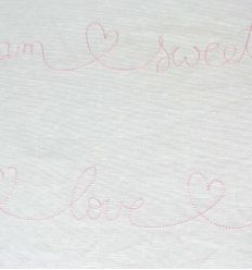 casadeco - embroidered fabric words ecriture brodee (rose)