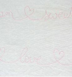 casadeco - tessuto d'arredo ricamato scritte (rosa)
