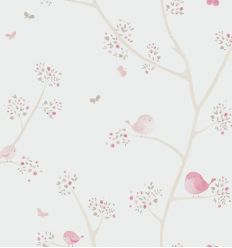 casadeco - carta da parati uccellini (rosa)