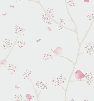 "casadeco - wallpaper little birds ""all over oiseaux"" (rose)"