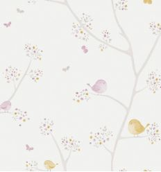 casadeco - wallpaper little birds all over oiseaux (mustard/mauve)