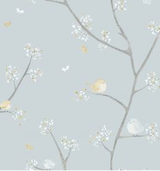 casadeco - wallpaper little birds all over oiseaux (light blue/mustard)