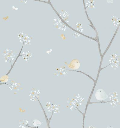 casadeco - carta da parati uccellini all over oiseaux (celeste/senape)