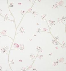 casadeco - tessuto d'arredo uccellini (rosa)