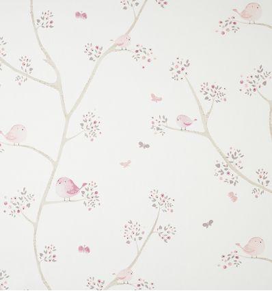 casadeco - tessuto d'arredo uccellini oiseaux (rosa)