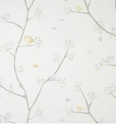 casadeco - tessuto d'arredo uccellini oiseaux (celeste)