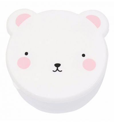 a little lovely company - set portamerenda orso (bianco/rosa)