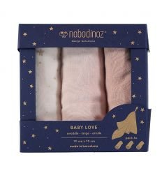 nobodinoz - baby love swaddles teli di mussola (bloom pink)