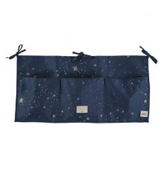 nobodinoz - organizer lettino/fasciatoio merlin (gold stella/night blue)