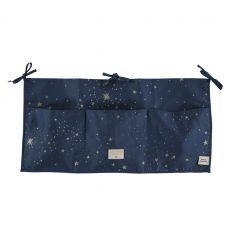 nobodinoz - organizer lettino/fasciatoio merlin (gold stella/night blue)