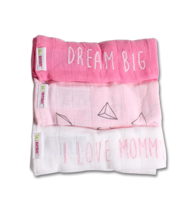 minene - muslins cloths pack of 3 (pink/white)